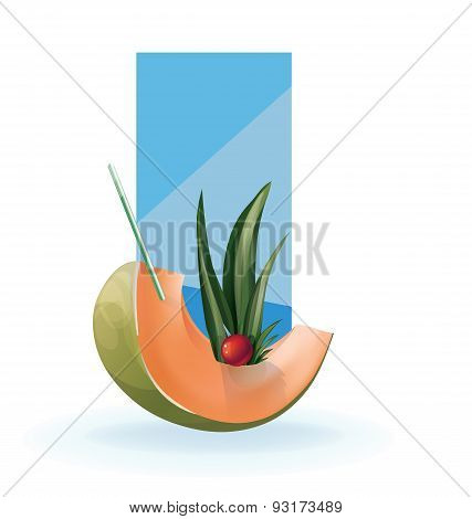 slice of exotic fruit decorated realistic isolated