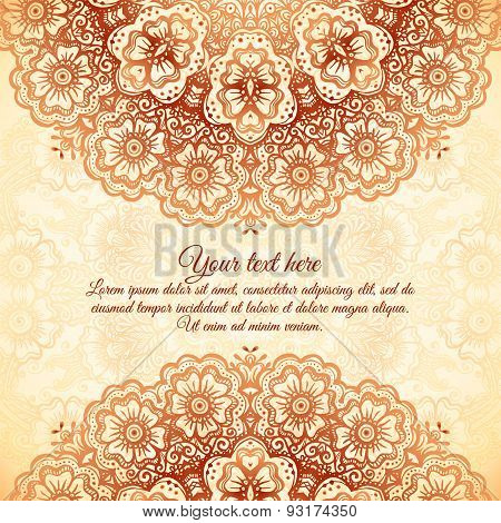 Vintage background in Indian mehndi style