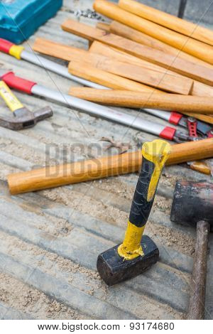 carpenter tools  on board after woodwork