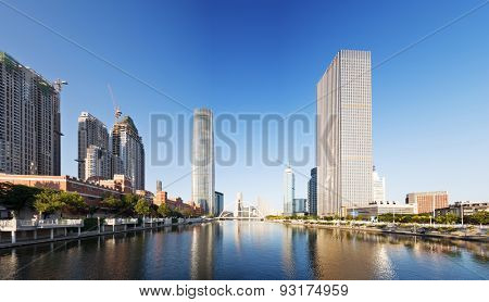 low angle view of skyscrapers and skyline in urban city downtown district