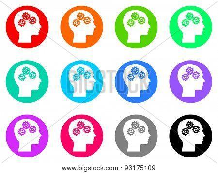 head vector web icons set
