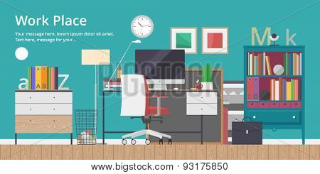 Colorful vector banner. Workplace. Workspace. Quality design illustration, elements and concept. Flat style