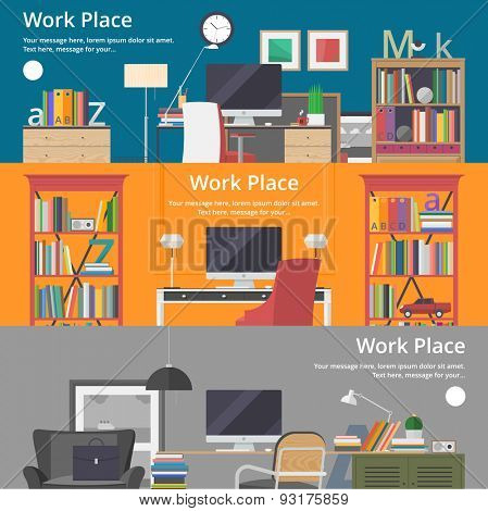 Colorful vector banners. Workplace. Workspace. Quality design illustration, elements and concept. Flat style