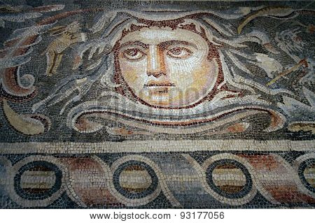 Detail Of The Mosaic Floor Of A Roman Villa Of The 3Rd Century Bc In Hebron