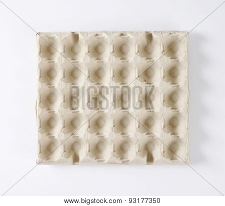 overhead view of paper egg carton