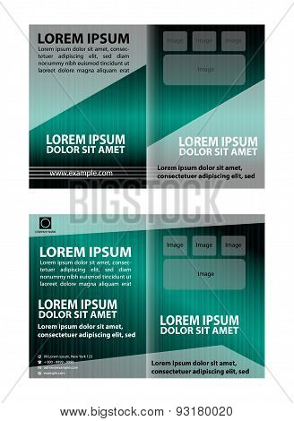 Vector empty bi-fold brochure print template design with blue elements