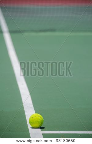 Tennis Ball on the Court. sport concept