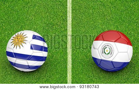football tournament, teams Uruguay vs Paraguay