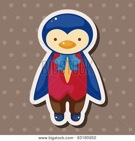 Animal Penguin Waiter Cartoon Theme Elements