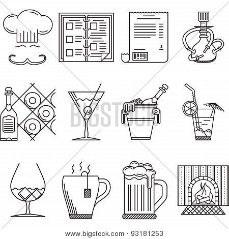 Vector linear icons for restaurant