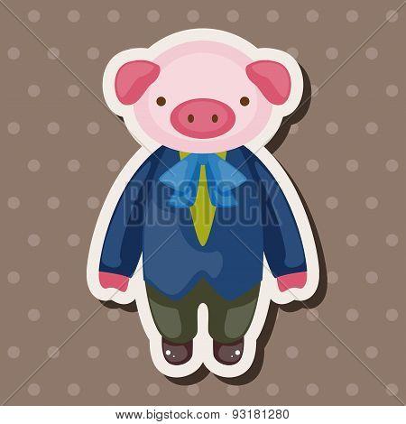 Animal Pig Waiter Cartoon Theme Elements