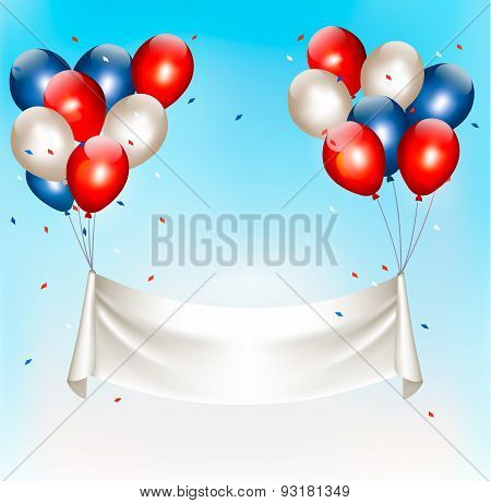 American Background With Colorful Balloons For 4Th Of July In Blue Sky. Vector.