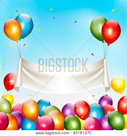 Holiday Birthday Banner With Colorful Balloons And Confetti. Vector
