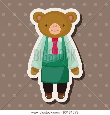 Animal Bear Waiter Cartoon Theme Elements