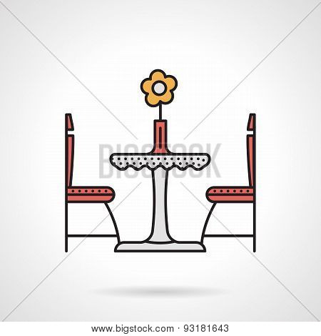 Table for two flat color vector icon