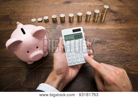 Businessman With Coins And Piggybank Using Calculator