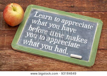 Learn to appreciate what you have before time makes you appreciate what you had - inspirational phrase on a slate blackboard against red barn wood