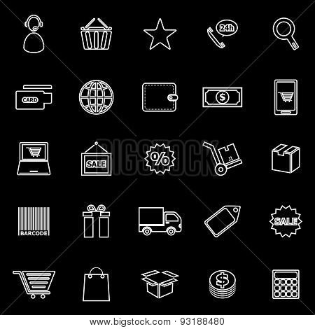 E-commerce Line Icons On Black Background