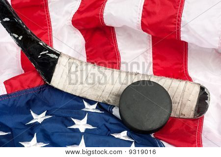 Hockey Equipment On An American Flag