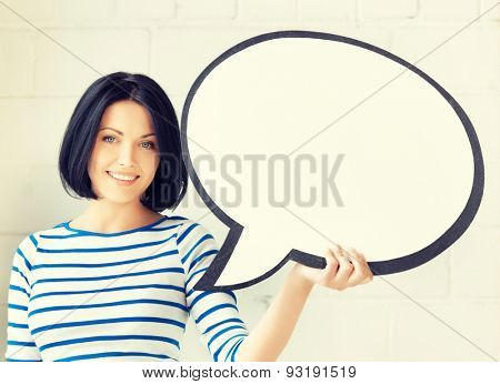 picture of smiling student with blank text bubble