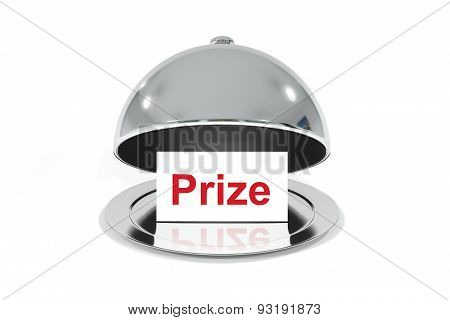 Opened Silver Cloche With White Prize