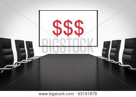 Conference Room Large Whiteboard Three Dollar Symbols