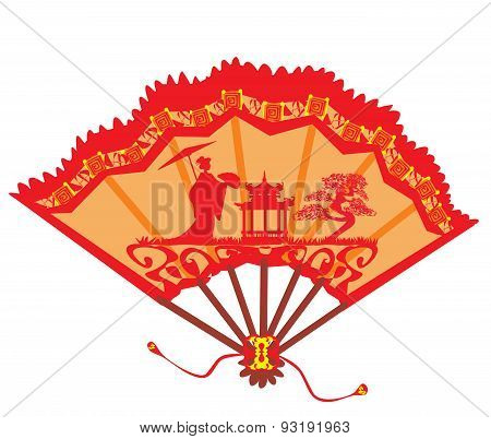 Landscape With Geisha On A Beautiful Fan