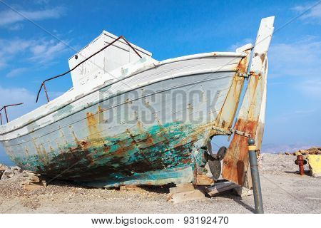Old Veteran Ruined Fishing Boat In Beach Shore On Greek Kos Island Mastihari Bay