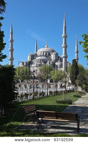 The Blue Mosque and Sultanahmet Mosque. Istanbul. Turkey.