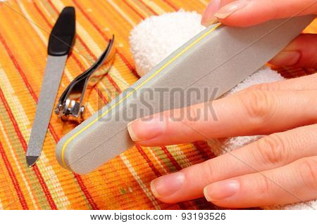 Woman Polishing Nails, Manicure