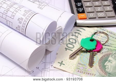 Rolled Electrical Diagrams On Construction Drawing Of House And Money With Keys