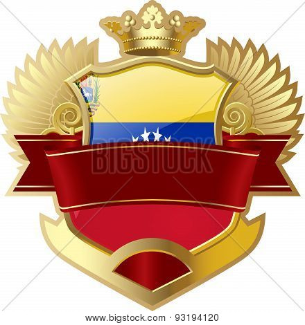 Shield with wings and crown angel Venezuela