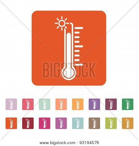 The Thermometer Icon. High Temperature Symbol