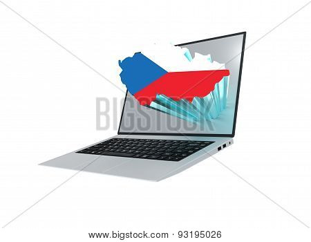 Laptop With Map Of The Czech Republic Map Containing The Czech R