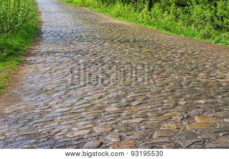 An ancient cobblestone road