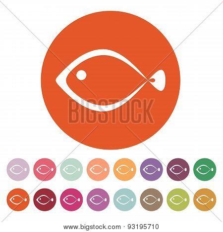 The Fish Icon. Seafood Symbol. Flat