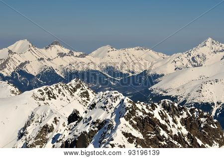 Winter landscape in mountains.