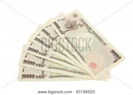 Japanese Yen Notes. Currency Of Japan On White Background