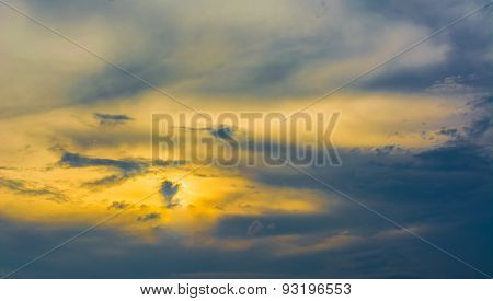 Image Of The Eye Of Ra On Sunset Sky For Background Usage .