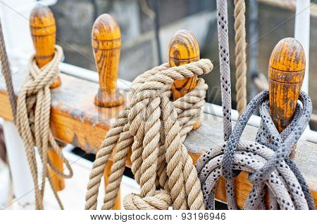 Marine Ropes And Tackles On The Tall Ship