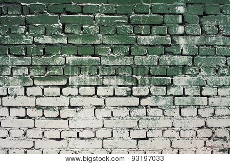Brick Old Wall Texture With Gradient Paint Green White Colors For Background Or Design, Abstract Pho
