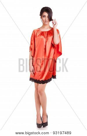 Sensual Woman In Evening Dress Full Body Over White Background