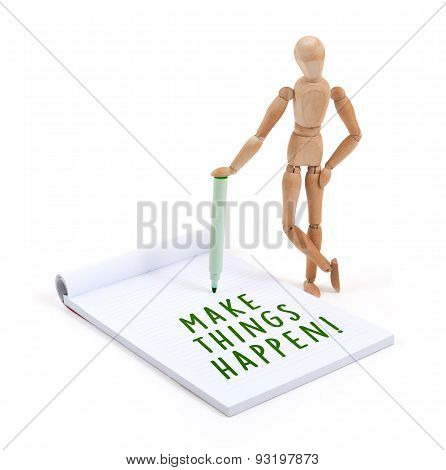 Wooden Mannequin Writing In Scrapbook - Make Things Happen