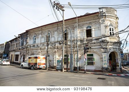 Phuket - May 5 : Old Buildings At Phuket On May 5,2015 In Thailand. A Tourist Attraction Significant