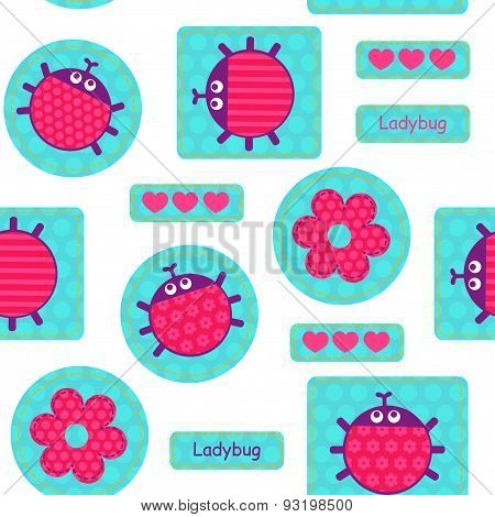 Ladybirds Pink Seamless Vector Pattern