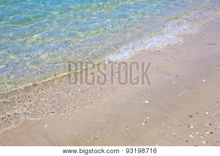Background With Coast Line Of Mediterranean Sea, Pebbles And Sand At The Beach