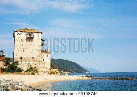 Ouranoupolis Tower On Athos Peninsula In Halkidiki, Greece