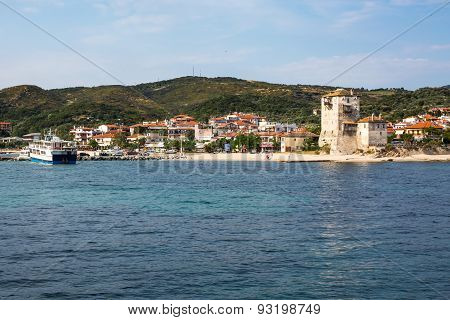 Ouranoupolis Town View, Harbor, Ferry Boat And Tower, Athos, Greece