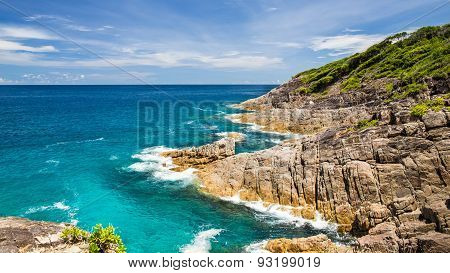 Vew Point Beautiful Crystal Clear Sea And White Sand Beach With Stone At Tachai Island, Andaman, Tha