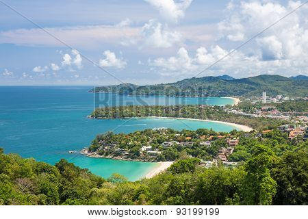 Beautiful Turquoise Ocean Waves With Boats And Coastline From High View Point